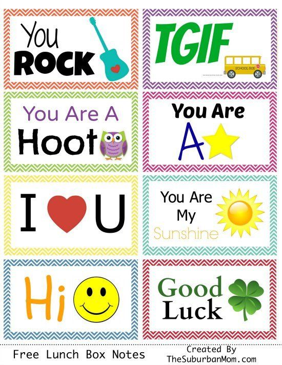 Back To School: Free Printable Lunch Box Notes