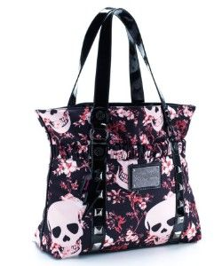 Betsey Johnson Pink and Black Skulls Tote