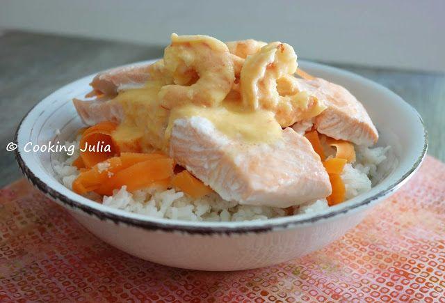 ☆...☆...☆... ........................... Saumon vapeur sauce crevettes
