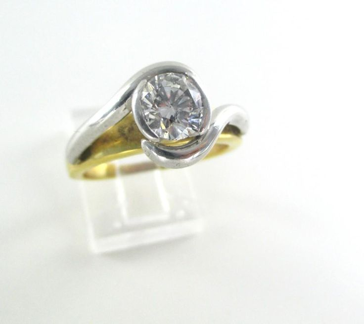 18KT YELLOW & PLATINUM GOLD RING 1 DIAMOND 1 CT WEDDING BAND SZ 8 HEAVY 9 GRAMS
