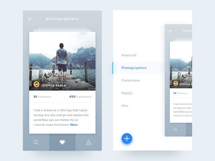 #3: iOS Photography - PSD attached Details and left menu for iOS app Comment and follow me if you guys like it. See you all tomorrow with new freebie :)