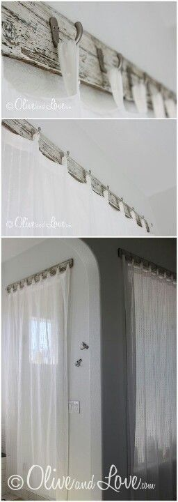 Hooks to hold curtain loops...but maybe just a hook on each side with a small café rod spanning them for the curtain rod. (for the window on our carport door)