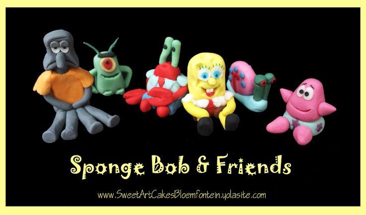 Fondant Sponge Bob & friends (Bloemfontein cake & cupcakes)