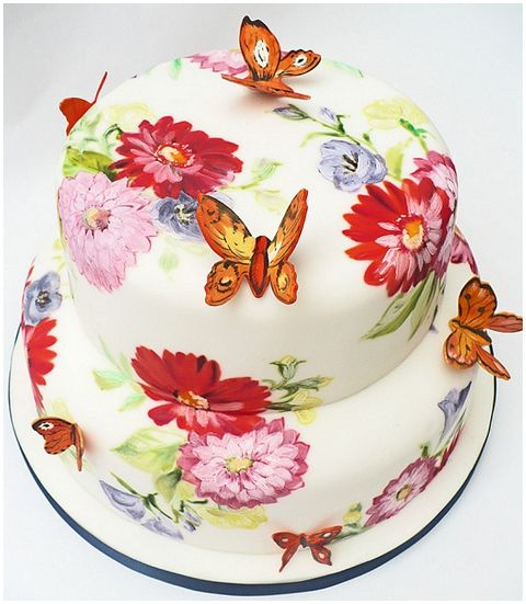 butterfly wedding cake hand painted   French Wedding Style Blog  