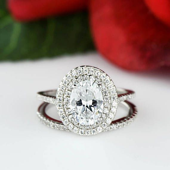 1.5 ctw Oval Wedding Set Double Halo Ring Engagement Ring
