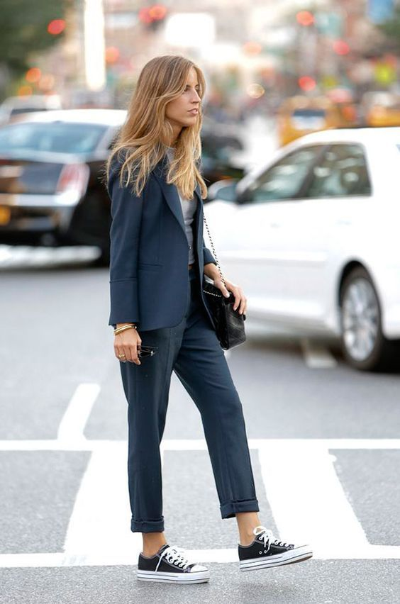 Wearing a trouser suit casually with sneakers