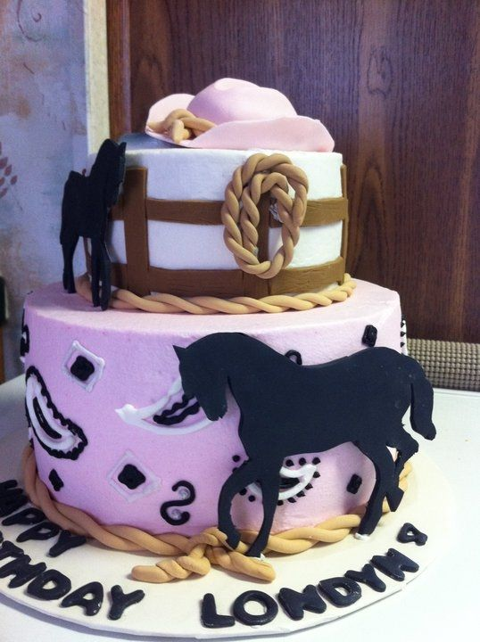 cowgirl cake- two layer with horse silhouette