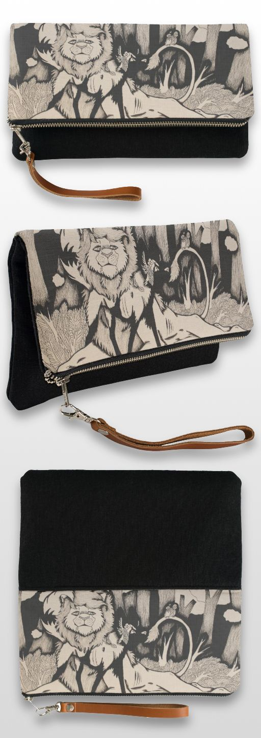 """Waiting for Daylight"" Black and White Illustrated Animal Clutch Bag #lion #african_wild_dog #art #illustration #products"