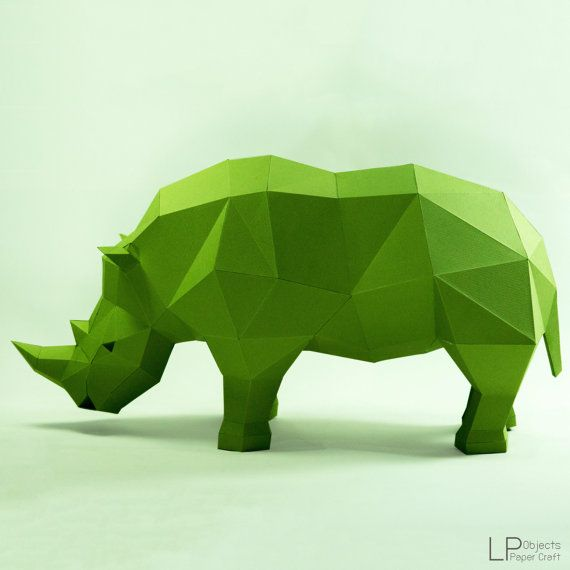 Rhino model, Rhino Sculpture , Animal paper, Rhinoceros paper ,Rhino low poly, papercraft, papermodel