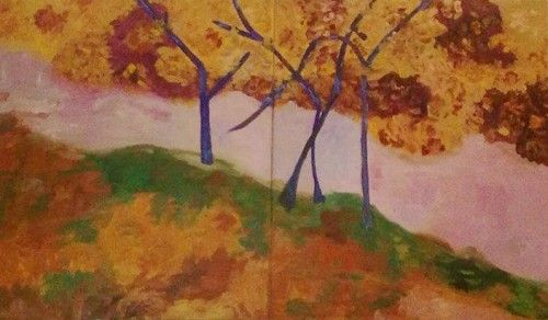 The picture in this post is an autumn landscape painting composed of two canvases. The background is impressionistic and the trees are abstract, I brought up together two different visual languages, with centuries gap. But this are just words, the most important is how this work makes you feel.