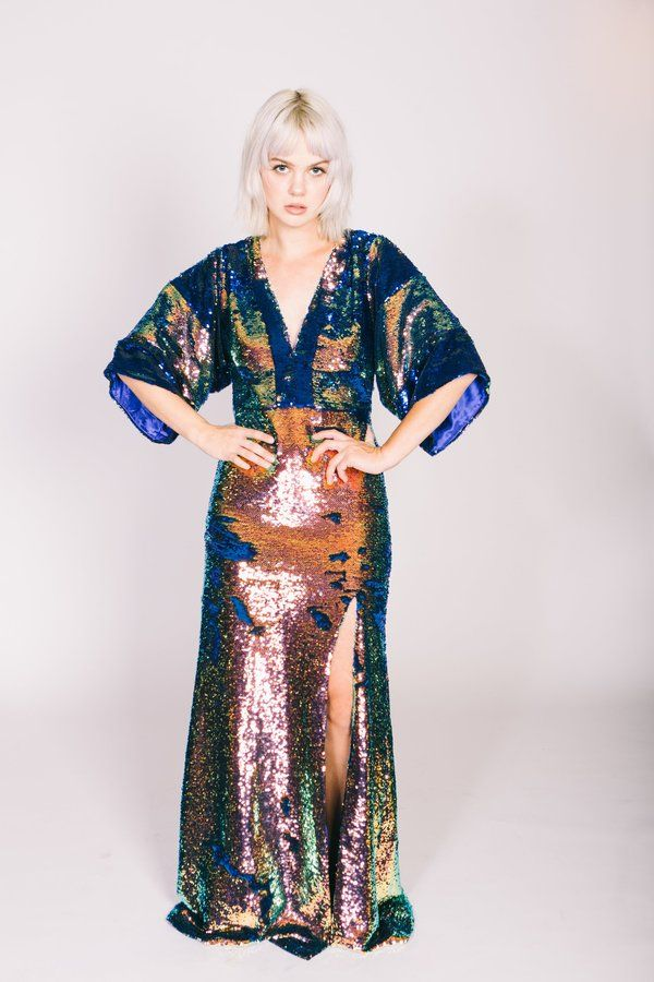 Any Old Iron Kimono Gown Kimono Sleeve Design Oil Slick fabric, flips to blue Blue satin lining High Split leg Open back Size 2/Small in stock, custom 7 days