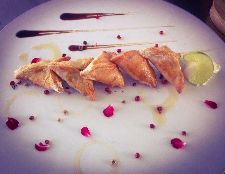 Spinach pies. Lebanese cuisine. Empanadas rellenas de espinaca y carne molida.