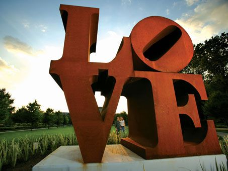 LOVE is an artwork by American artist Robert Indiana, located at the Indianapolis Museum of Art (IMA), which is near downtown Indianapolis, Indiana. It was created in 1970 as the first sculptural form of Indiana's famous LOVE painting and has been on continuous exhibition at the Indianapolis Museum of Art since it was acquired in 1975. - Read More: http://en.wikipedia.org/wiki/LOVE_(Indianapolis)