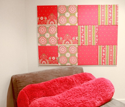 A simple and unique way to add color to your dorm room wall is with these fabric squares.