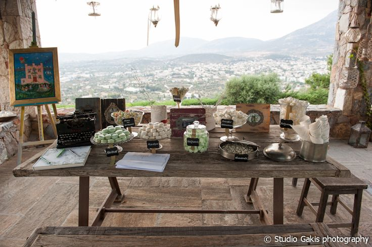 #candybar #treats #delicious #elegant #wood #table #typewriter #jars #decoration #greekwedding #garden #estate #weddingplanner #dreamsinstyle