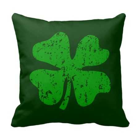 Green shamrock clover St Patricks Day throw pillow - tap, personalize, buy right now!