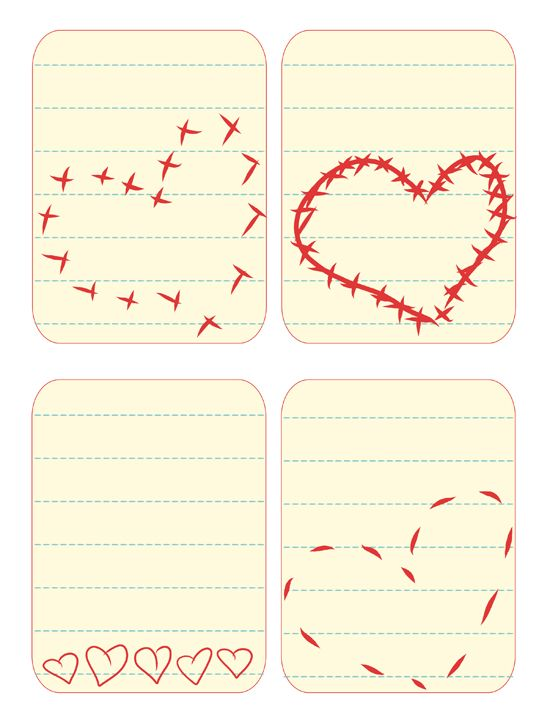 heart journal cards printable