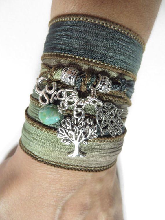 Namaste Tree of Life Wrap Silk Bracelet Bohemian Yoga by HVart, $29.99