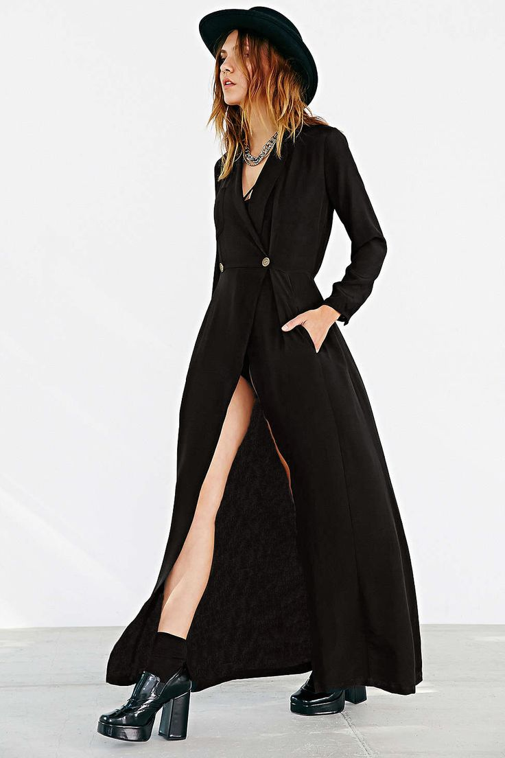 #SALE Black Long Sleeve V Neck Split Maxi Dress $28 Shop the #SALE at #Sheinside