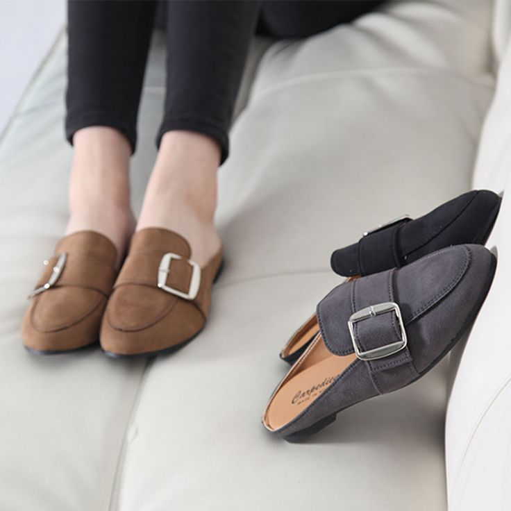 Made In Korea Women's Flat Shoes Metal Point Belt Buckle Bloafer Suede 3 Color #DreamTree #LoafersMoccasins #Casual