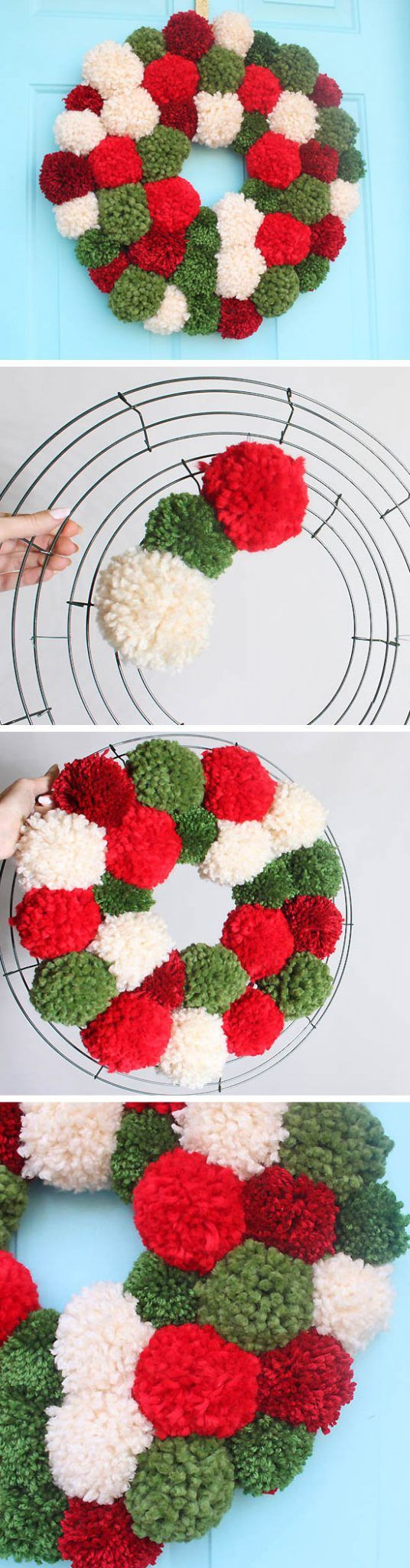 DIY Anthropologie Pom Pom Wreath | Click Pic for 20 DIY Christmas Wreaths for Front Door | Easy Christmas Decor Ideas for the Home