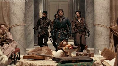 The Musketeers - 1x07 - A Rebellious Woman (gif) to quote Aramis from episode 1. 'Now that's the way to make an enterance' <3