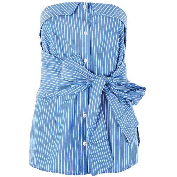 Topshop Petite Knot Front Bandeau Top ($24) via Polyvore featuring tops, blue, knot front top, button front top, blue top, bandeau top and topshop tops
