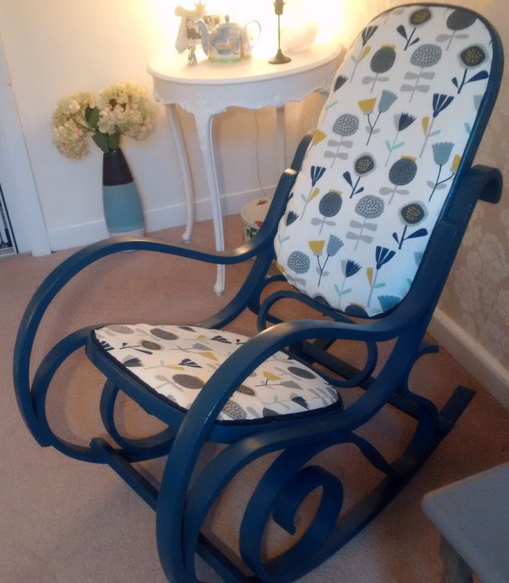 Here is my bentwood rocker, finally painted & reupholstered...