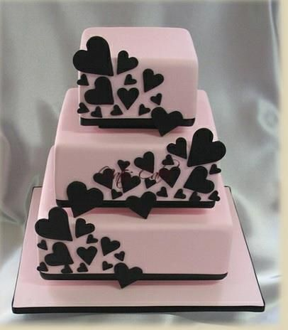 Lexie-- This girly cake represents the structure of our perfume bottle by the little black hearts all over.