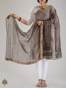 Brown-Golden Bagru Printed Zari Border Chanderi Dupatta by Jaypore