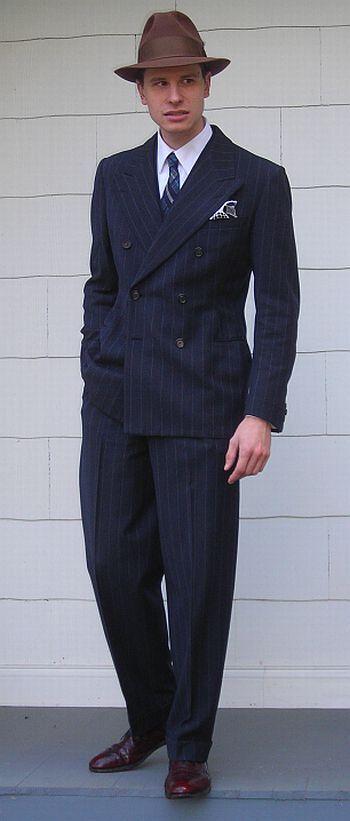vintage 1930s chalkstripe double breasted men's suit