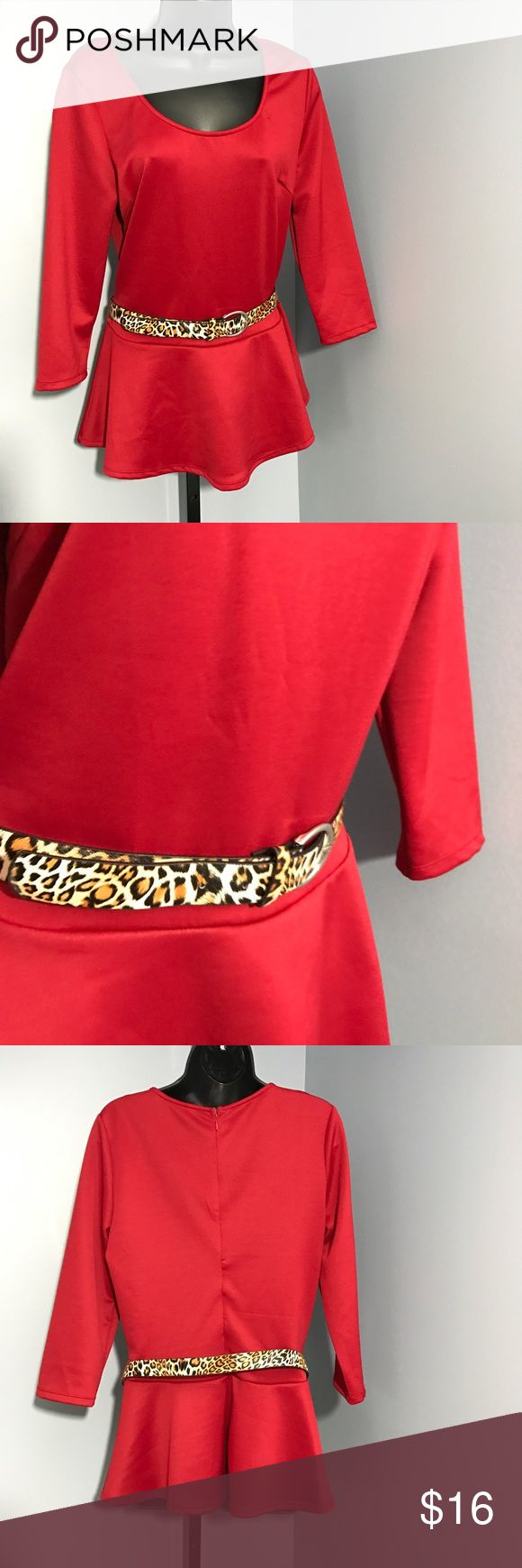 🌟JUST IN🌟Red peplum top with belt *Brand new *Red peplum top with detachable animal print belt *Hidden zipper on back *Size L *Perfect for Valentine's Day! Dots Tops
