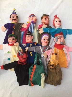 11 poppenkastpoppen, Handpuppen, Kasperlepuppen, rubber head hand puppets