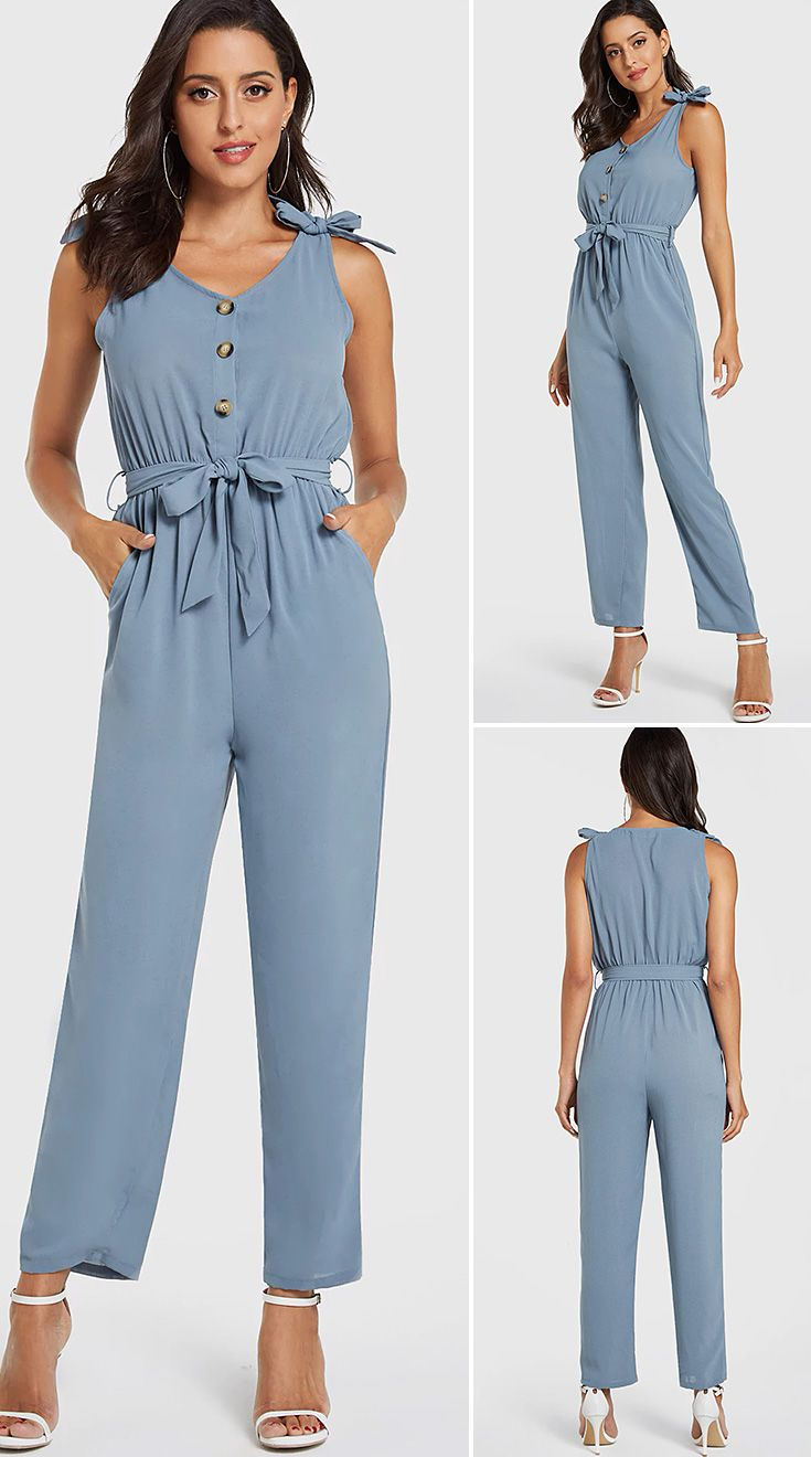 SZ Womens Jumpsuit Summer Solid Color Button Down Cuffed Short Sleeve Casual Sleeveless Jumpsuit Dream