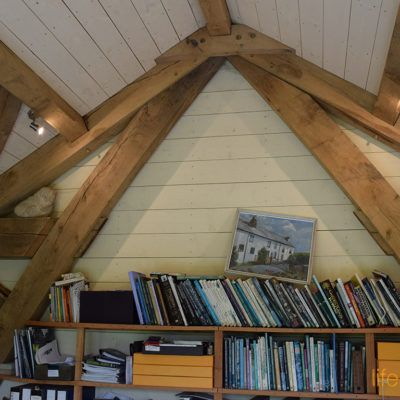 Shelving and Storage inside this oak frame home office garden cabin! www.lifespacecabins.co.uk