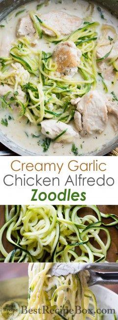 Creamy Garlic Alfredo Chicken Zucchini Noodles are delicious and easy to make!   @bestrecipebox