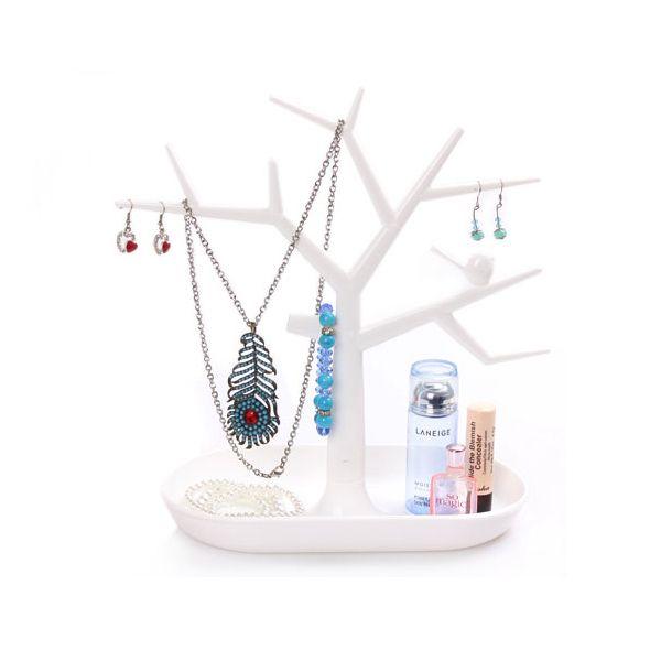Stojan na šperky v tvare plastového stromu - biely