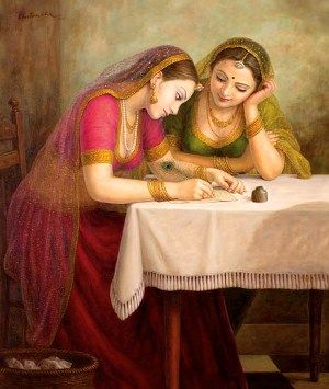 Indian girls painting