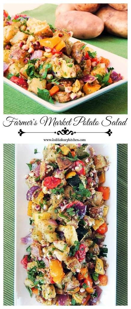 Farmer's Market Potato Salad - This is not your typical potato salad! Full of roasted veggie goodness, it is the perfect dish for those farm stand finds. #SundaySupper From www.bobbiskozykitchen.com