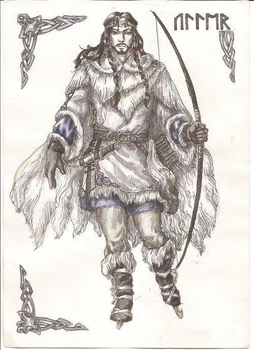 Uller, dios del invierno, hijo de Sif, hijastro de Thor. Su padre nunca es mencionado en las sagas nórdicas, debió ser un Nifellim, pues Uller amaba el frío y se deleitaba en viajar a través del país sobre sus anchos esquís o relucientes patines. Este dios también disfrutaba con la caza y perseguía sus presas a través de los bosques del Norte, preocupándose poco de la nieve y el hielo, contra los cuales estaba bien protegido por las gruesas pieles con las que siempre iba ataviado.