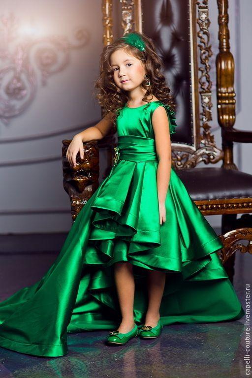 Silk elegant dress for girl / Одежда для девочек, ручной работы. Ярмарка Мастеров - ручная работа. Купить Византия нарядное платье. Handmade. Зеленый, праздничное колье