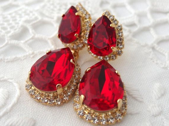earrings pave drop red crystal siam riam swarovski elements