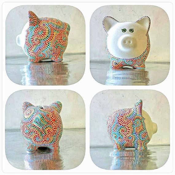 Piggy Bank Rainbow Piggy! Made to Order* Can be Personalized I painted him Sparkly white and then dot dot dotted...a Rainbow! I love this