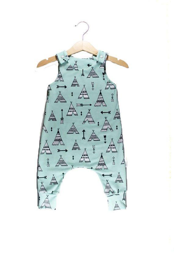 T E E P E E Baby Romper, Toddler Romper, Organic cotton romper, Harem Romper, Teepee Romper, Baby Onesie, Boy Romper, Girl Romper