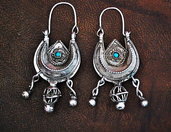 Antique Afghani Earrings with Turquoise BY COSMIC NORBU