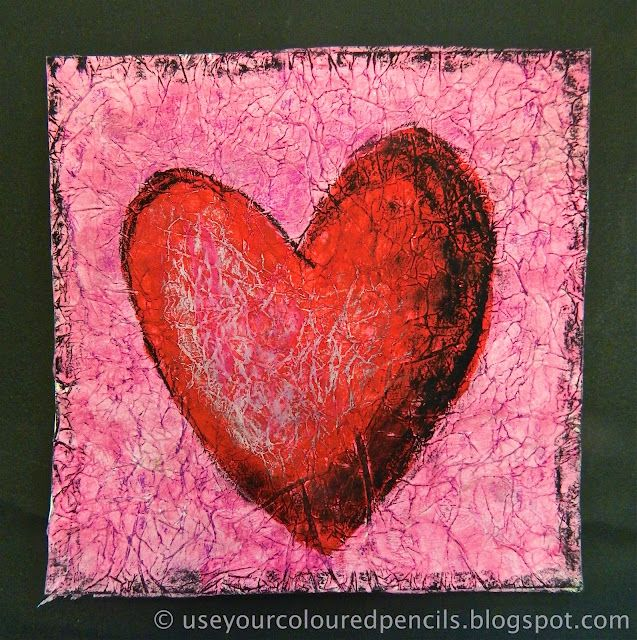 Textured Heart Paintings- tissue paper and pastels Gr.6