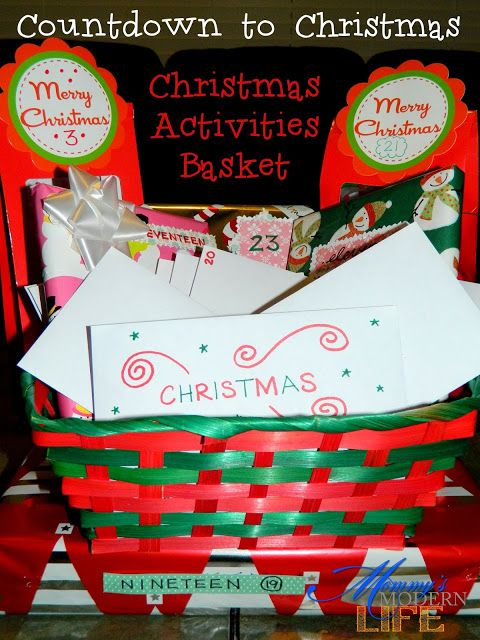 Mommy's Modern Life: DIY - Christmas Activities Basket Fun way to count down the days until Christmas by doing a Christmas related activity every day!