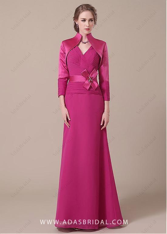 cb1683044b comprar Gasa elegante escote con cuello en V de longitud completa de una  línea madre de los vestidos de novia de descuento en Dressilyme.com