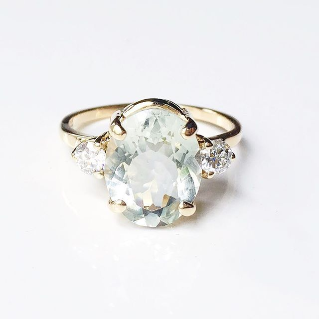 Vale Jewelry custom green amethyst and diamond engagement ring