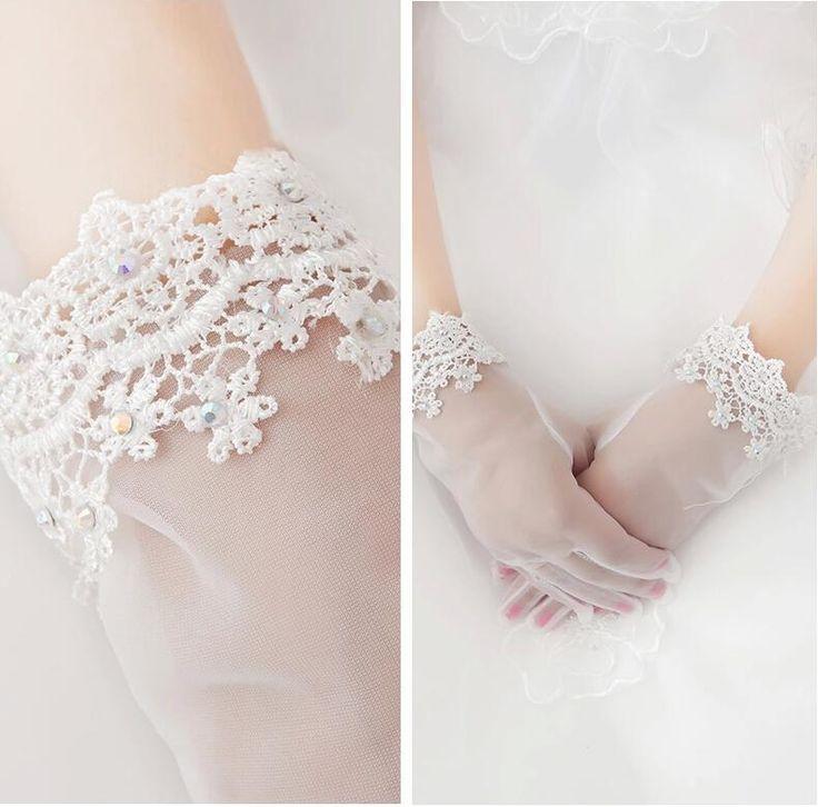 De Noiva Venda Quente Novo Laço Luvas De Noiva Diamante Artesanal Curto Noiva Luvas De Noiva De Renda De Blissangel